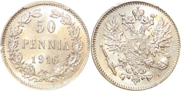 Finland 50 Pennia Nicholas II 1916 S PCGS MS63 Argent Silver