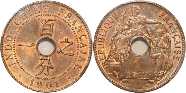 Indochina rare 1 Centime 1901 A Paris PCGS MS64