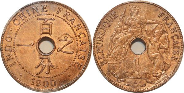 Indochina rare 1 Centime 1900 A Paris PCGS MS63