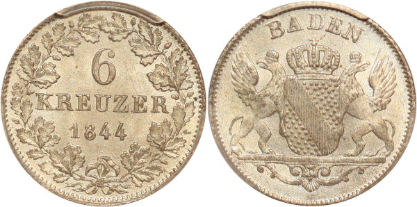 Germany rare Baden-Durlach Kreuzer 1844 PCGS MS65 Argent Silver