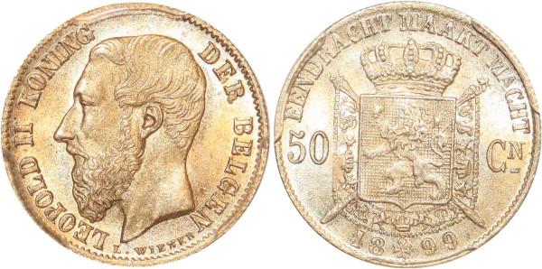 Belgium 50 Centimes CN Leopold II 1899 PCGS MS66 Argent FDC !!!