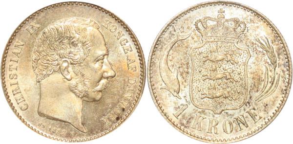 Denmark rare Krone Christian IX 1892 HC CS PCGS MS64 Argent Silver