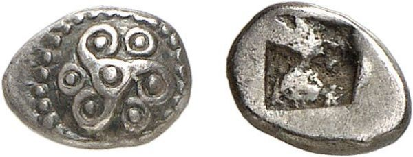 Gallia. Massalia. 520-460 BC. AR 1/2 Obol (0.42g). Apparently unpublished. Old cabinet tone. Choice extremely fine. Formerly acquired from Anne Demeester; possibly from the 1867 Auriol hoard
