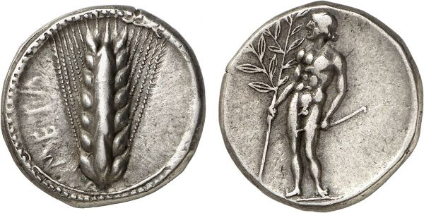 Lucania. Metapontum. 440-430 BC. AR Nomos (7.99g, 2h). Basel 312; Noe 315. Attractively toned. A remarkable specimen with an exceptionally fine early classical figure of Apollo. Choice extremely fine. Formerly acquired from Anne Demeester; Leu Numismatics 2000 (79) lot 255; Münzen & Medaillen 1970 (41) lot 9