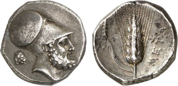 Lucania. Metapontum. 340-330 BC. AR Nomos (7.86g, 10h). HN 1575; MAST 17 (this coin). Lightly toned. Good very fine. Formerly acquired from Michel-Max Bendenoun; former