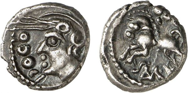 Celtica. Sequani. Besançon area. 100-50 BC. AR Quinarius (1.98g, 3h). Depeyrot (4) 269; DT 3245. Old cabinet tone. Exceptional for issue. Good extremely fine. Formerly acquired from Anne Demeester