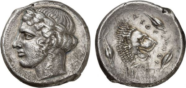 Sicily. Leontini. 430 BC. AR Tetradrachm (16.42g, 1h). ANS 243; Gemini 2012 (9) lot 3. Lightly toned. Apparently overstruck on a Selinos tetradrachm. Minor scratches. Good very fine. Formerly acquired from Jean Elsen