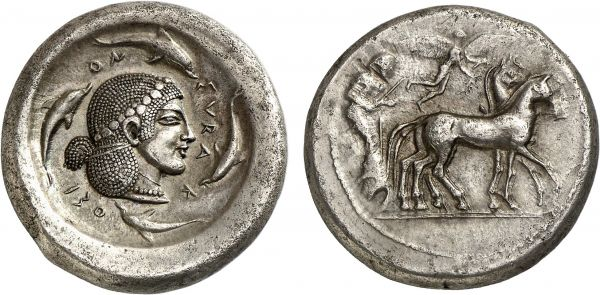 Sicily. Syracuse. 485 BC. AR Tetradrachm (17.08g, 3h). Boehringer 57; Randazzo 239. Lightly toned. Broad flan. Magnificent late archaic head of Arethusa of particularly fine style. Extremely fine. Formerly acquired from Anne Demeester
