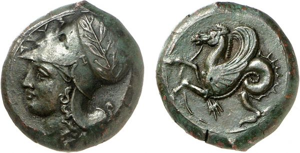 Sicily. Syracuse. 400 BC. Æ (6.35g, 9h). ANS 434; CNS 45. Superb dark green patina. Good very fine. Formerly acquired from Michel-Max Bendenoun; Tradart 1994 (4) lot 24; The Numismatic Auction 1982 (1) lot 30