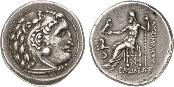 Thracia. King Lysimachos. Kolophon. 299-297 BC. AR Tetradrachm (17.14g, 1h). Gillet 864; Thompson 123. Old cabinet tone. Perfectly centered on a broad flan. Extremely fine. Formerly acquired from Michel-Max Bendenoun; Tradart 1993 (3) lot 49; Bank Leu 1987 (42) lot 158