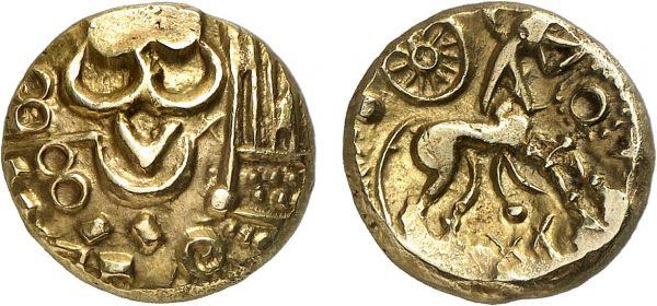 Belgica. Nervii. Tournai area. 60-50 BC. AV Stater (5.92g, 4h). DT 177a; Scheers 217. Lightly toned. Perfectly centered and struck. Exceptional for issue. Superb extremely fine. Formerly acquired from Anne Demeester