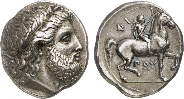 Macedonia. King Philip II. Pella. 348-342 BC. AR Tetradrachm (14.31g, 12h). Le Rider 165; MAST 96 (this coin). Old cabinet tone. With a particularly artistic head of Zeus of the finest late classical style. Choice extremely fine. Formerly acquired from Michel-Max Bendenoun; Frank Sternberg 1988 (21) lot 73