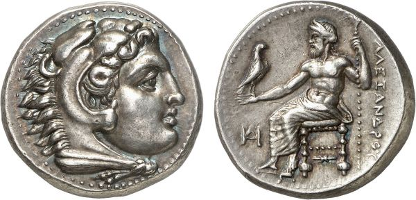 Macedonia. King Alexander III. Miletos. 325 BC. AR Tetradrachm (17.20g, 12h). Müller 9; Price 2087. Old cabinet tone. Perfectly centered and struck. A lovely coin of enchanting beauty. Superb extremely fine. Formerly acquired from Michel-Max Bendenoun; Tradart 1994 (4) lot 47