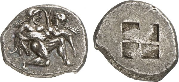 Thracia. Thasos. 490-480 BC. AR Stater (9.57g). Franke-Marathaki 126; Hirmer 435. Old cabinet tone. Perfectly centered and struck on a broad flan. Lovely archaic style. Choice extremely fine. Formerly acquired from Michel-Max Bendenoun; The Numismatic Auction 1983 (2) lot 71