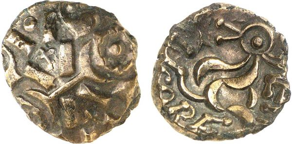 Britannia. Corieltauvi. Leicester area. AD 10-43. AV Stater (4.89g). VA 930-1 (obverse) and VA 940-1 (reverse). Lightly toned. Perfectly centered and struck on a broad flan. Good extremely fine. Formerly acquired from Anne Demeester