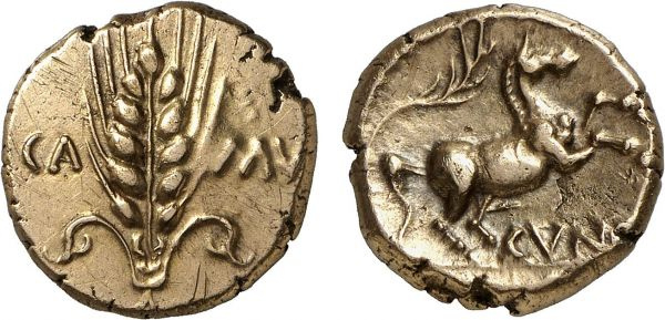 Britannia. Trinovantes. Colchester area. King Cunobelinos. AD 20-43. AV Stater (5.47g, 3h). VA 2027-1; SCBC 288. Lightly toned. Perfectly centered and struck on a broad flan. Good extremely fine. Formerly acquired from Anne Demeester