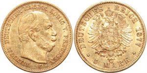 Germany Gold 1877 5 Mark AA215 Germany 5 Marks Wilhelm Prussia 1877 C Or Gold AU -> Make offer