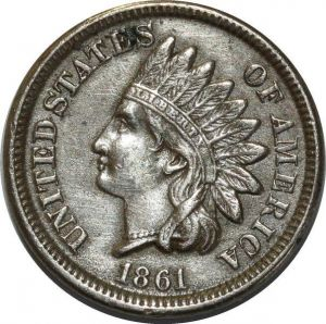 O1056 USA Indian 1 Cents 1861 AU