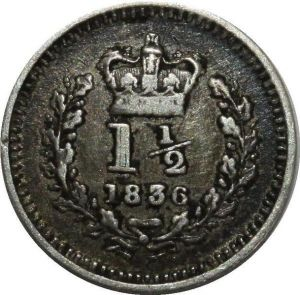 O1106 Great Britain 1 1/2 Pence William IV 1836 Silver XF !!
