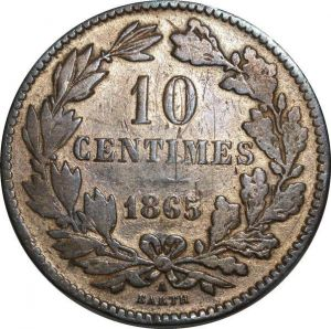 O1124 Luxembourg 10 Centimes 1865