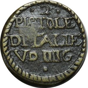 O1153 Rare Italy Poids Monetaire 2 Pistoles countermarked Tower