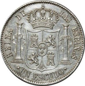 O337 Scarce Spain 1 escudo Isabel II 1866 Argent Silver AU !!!
