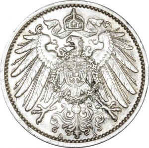 O380 Germany 1 Mark Wilhelm II 1914 A Berlin Argent Silver AU