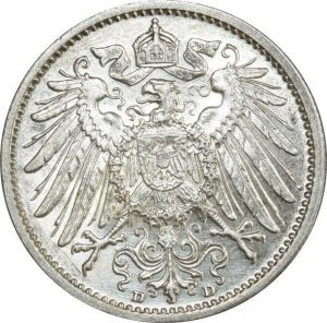 O386 Germany 1 Mark Wilhelm II 1908 D Munich Argent Silver UNC