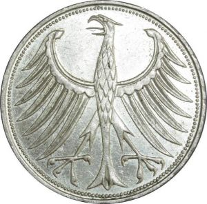 O415 Germany 5 deutsche Mark Aigle 1959 D Munich Argent Silver UNC