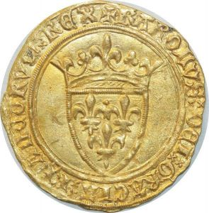 O4644 Rare Ecu d'or Charles VI 1380 1422 Couronne Toulouse Or Gold SPL