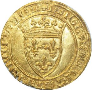O4647 Rare Ecu d'or Charles VI 1380 1422 Couronne Angers Or Gold SPL