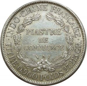 O5116 Scarce Vietnam IndoChina Piastre 1886 A Paris Argent Silver XF ->M offer