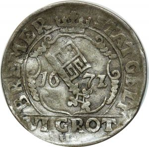O5138 German Bremen 6 Grote Leopold I 1/12 Taler 1672 Silver ->M offer