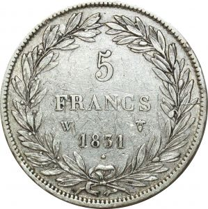 O5142 5 Francs Louis Philippe I Creux 1831 W Lille Argent Silver ->Make offer