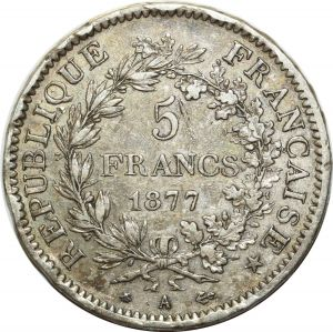 O5146 5 Francs Hercule 1877 A Paris Argent Silver ->Make offer