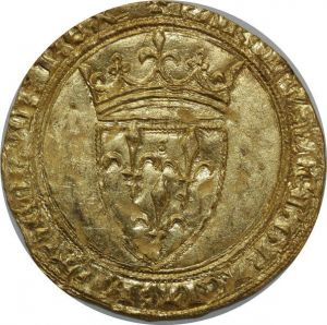 O52 Rare Ecu d'or Charles VI 1380-1422 Angers Gold SPL