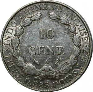 O644 Indochina 10 Cents 1914 A Paris Argent Silver