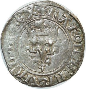 O7402 Rare Charles VI 1380 1422 florette Angers point 7 SUP -> Make offer