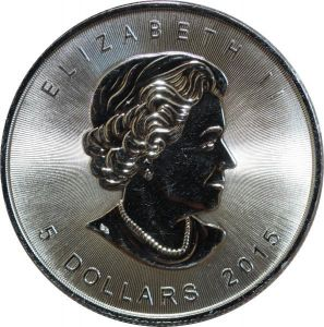O7629 Canada 5 Dollars Elisabeth II 2015 Maple Leaf oz 999% Silver Proof BE