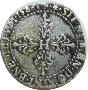 O7836 Rare Henri III demi franc au col plat 1588 I Limoges argent  ->Make offer