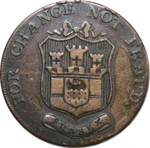 O7955 Uk Great Britain Halfpenny Token Kent Sussex For Change No Fraud 1794