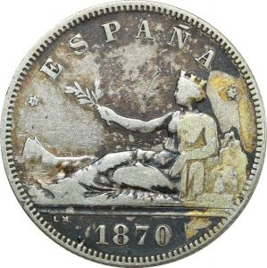 O8008 Spain 2 Pesetas 1870 ( 74 ) DE M Madrid Silver ->Make offer