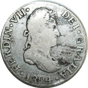 O8009 Spain 2 Reales Ferdinand VII 1824 S J Silver ->Make offer