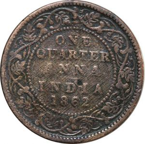 O8019 India-British 1/4 One Quarter Anna Victoria 1862 ->Make offer
