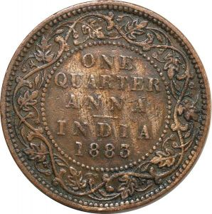 O8020 India-British 1/4 One Quarter Anna Victoria 1883 ->Make offer