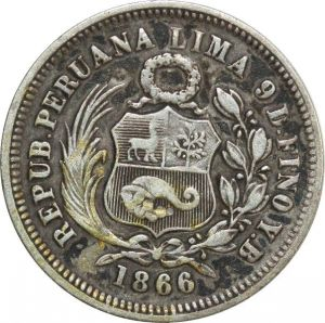 O8021 Peru 1/5 Sol 1866 YB Lima Silver KM# 191 ->Make offer