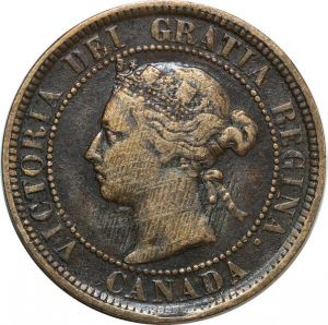 O8022 Canada Cent Victoria 1884 Double chin ->Make offer