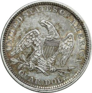 O8024 Scarce USA Quarter Dollar Liberty Seated 1861 Silver UNC ->Make offer
