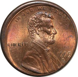 O8030 Scarce USA Lincoln Cent One Penny 1995 D Off Center Error Missing UNC