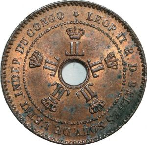 O8031 Congo Free State 2 Centimes Leopold II 1887 UNC !!!